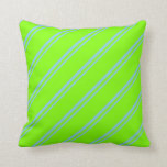 [ Thumbnail: Sky Blue and Chartreuse Stripes Pattern Pillow ]