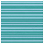 [ Thumbnail: Sky Blue and Dark Cyan Colored Lines Pattern Fabric ]