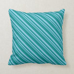 [ Thumbnail: Sky Blue and Dark Cyan Colored Lines Pattern Throw Pillow ]