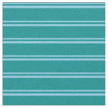 [ Thumbnail: Sky Blue and Dark Cyan Colored Stripes Fabric ]