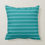 [ Thumbnail: Sky Blue and Dark Cyan Colored Stripes Pillow ]