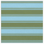 [ Thumbnail: Sky Blue and Dark Olive Green Pattern of Stripes Fabric ]