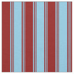 [ Thumbnail: Sky Blue and Dark Red Colored Stripes Fabric ]