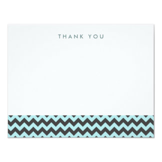 Sky Blue and Gray Chevron Thank You Note Cards