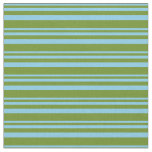[ Thumbnail: Sky Blue and Green Colored Stripes Pattern Fabric ]