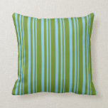 [ Thumbnail: Sky Blue and Green Colored Stripes Pattern Pillow ]