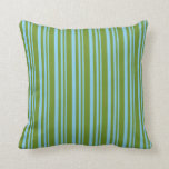 [ Thumbnail: Sky Blue and Green Lines Throw Pillow ]