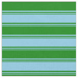 [ Thumbnail: Sky Blue and Green Striped/Lined Pattern Fabric ]
