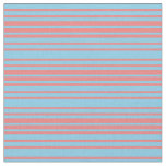 [ Thumbnail: Sky Blue and Light Coral Colored Lines Fabric ]