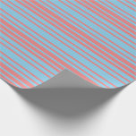 [ Thumbnail: Sky Blue and Light Coral Colored Lines Wrapping Paper ]
