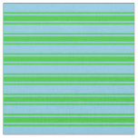 [ Thumbnail: Sky Blue and Lime Green Lines Fabric ]