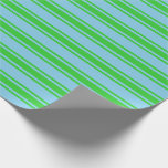 [ Thumbnail: Sky Blue and Lime Green Lines Wrapping Paper ]