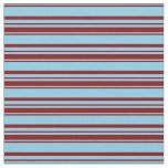 [ Thumbnail: Sky Blue and Maroon Striped Pattern Fabric ]