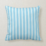 [ Thumbnail: Sky Blue and Mint Cream Colored Stripes Pillow ]