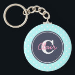 """Sky Blue and Navy, Initial, and Name Keychain<br><div class=""""desc"""">There is no cuter key chain than a polka dot keychain with your initial and name!</div>"""