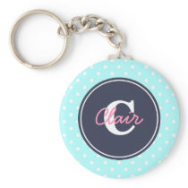 Sky Blue and Navy, Initial, and Name Keychain