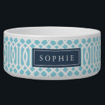 """Sky Blue and Navy Trellis Monogram Bowl<br><div class=""""desc"""">Cute customized cat or dog food bowl with a sky blue imperial trellis pattern and rectangle frame placeholder for your beloved pet&#39;s name.</div>"""