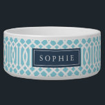 "Sky Blue and Navy Trellis Monogram Bowl<br><div class=""desc"">Cute customized cat or dog food bowl with a sky blue imperial trellis pattern and rectangle frame placeholder for your beloved pet&#39;s name.</div>"