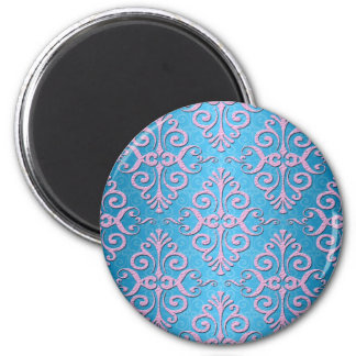 Sky Blue and Pink Girly Damask 2 Inch Round Magnet