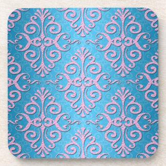 Sky Blue and Pink Girly Damask Coaster