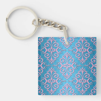 Sky Blue and Pink Girly Damask Keychain