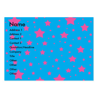 Sky blue and pink stars large business cards (Pack of 100)