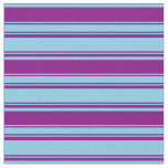 [ Thumbnail: Sky Blue and Purple Colored Lines Pattern Fabric ]