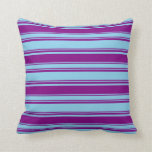 [ Thumbnail: Sky Blue and Purple Colored Lines Pattern Pillow ]