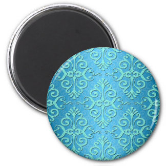 Sky Blue and Teal Fancy Girly Damask 2 Inch Round Magnet