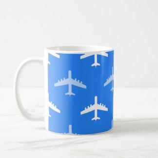 Sky Blue and White Airplane Plane Coffee Mug