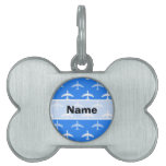 Sky Blue and White Airplane; Plane Pet ID Tags