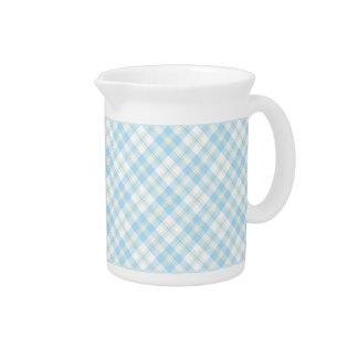 Sky Blue and White Check Pitcher or Jug