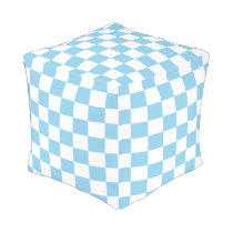 Sky Blue and White Checked Ottoman