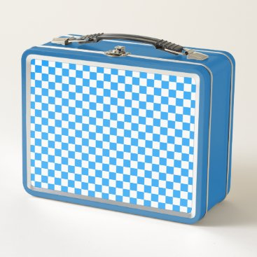 Beach Themed Sky Blue and White Checkerboard Pattern Metal Lunch Box