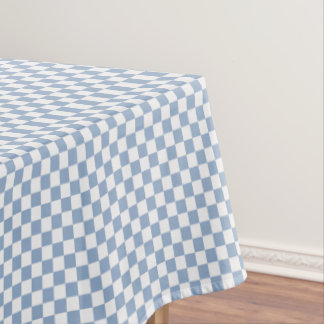 Sky Blue And White Checkered Tablecloth