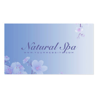 Sky Blue And White Cherry Blossom Natural Spa Business Card Templates