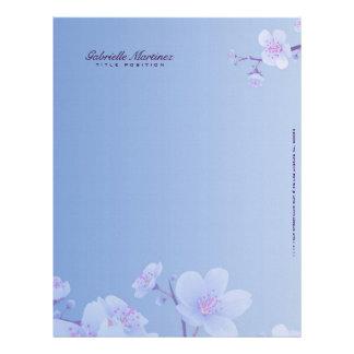Sky Blue And White Cherry Blossom Natural Spa Letterhead