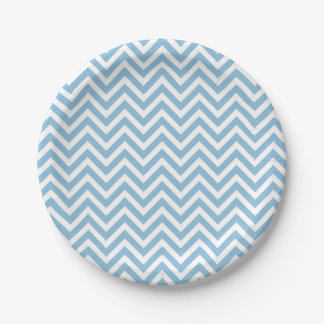 Sky Blue and White Chevron Paper Plate