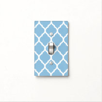 Sky Blue and White Chic Moroccan Lattice Light Switch Cover