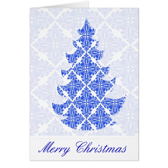 Sky Blue AND White Damask Pattern Christmas Tree Card