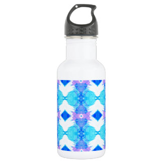 Sky Blue and White Diamond Pattern Water Bottle