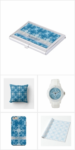 Sky Blue and White Floral Damask