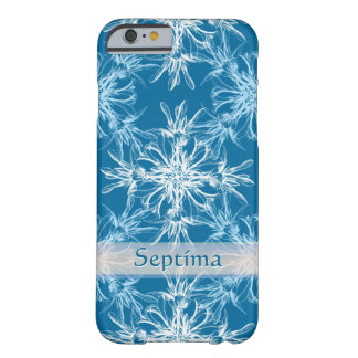 Sky Blue and White Floral Damask Custom Name Barely There iPhone 6 Case