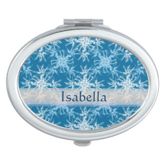 Sky Blue and White Floral Damask Name Mirror For Makeup