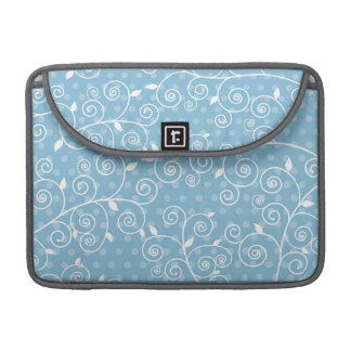 Sky Blue and White Floral Swirls; Polka Dots MacBook Pro Sleeves