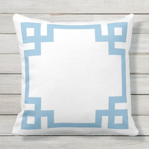 Sky Blue and White Greek Key Border Outdoor Pillow