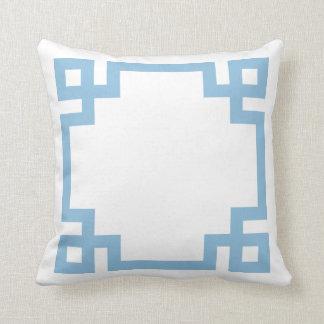 Sky Blue and White Greek Key Border Throw Pillow