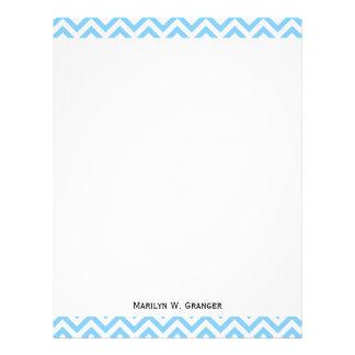Sky Blue and White Large Chevron ZigZag Pattern Letterhead