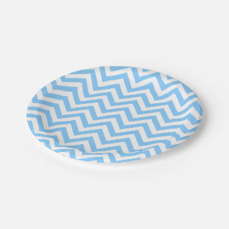 Sky Blue and White Large Chevron ZigZag Pattern Paper Plate