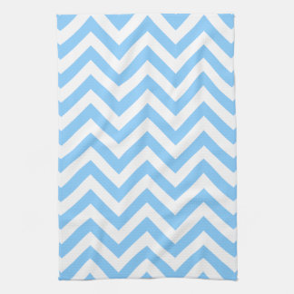 Sky Blue and White Large Chevron ZigZag Pattern Towel